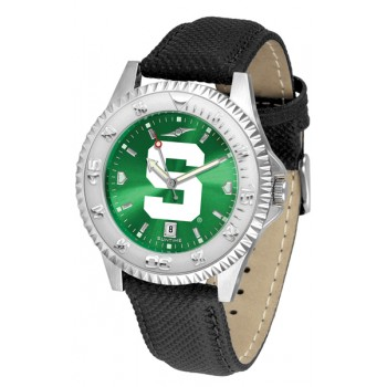 Michigan State University Spartans Mens Watch - Competitor Anochrome Poly/Leather Band