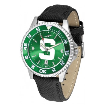 Michigan State University Spartans Mens Watch - Competitor Anochrome Colored Bezel Poly/Leather Band