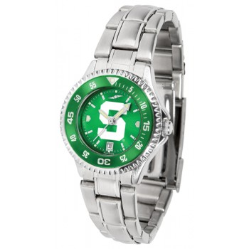 Michigan State University Spartans Ladies Watch - Competitor Anochrome - Colored Bezel - Steel Band