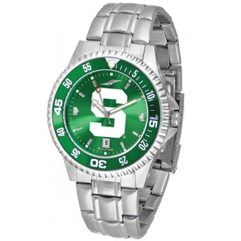 Michigan State University Spartans Mens Watch - Competitor Anochrome - Colored Bezel - Steel Band