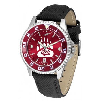 University Of Montana Grizzlies Mens Watch - Competitor Anochrome Colored Bezel Poly/Leather Band