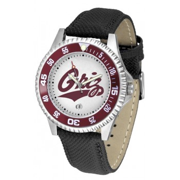 University Of Montana Grizzlies Mens Watch - Competitor Poly/Leather Band