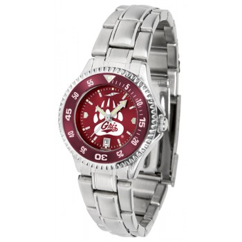 University Of Montana Grizzlies Ladies Watch - Competitor Anochrome - Colored Bezel - Steel Band