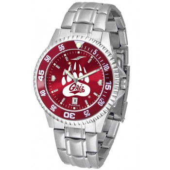 University Of Montana Grizzlies Mens Watch - Competitor Anochrome - Colored Bezel - Steel Band
