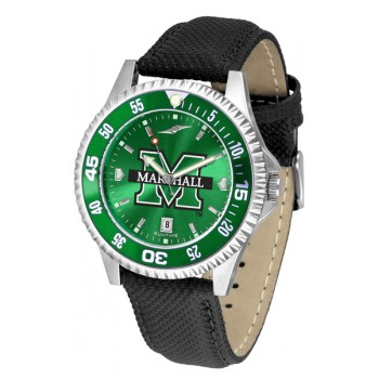 Marshall University The Herd Mens Watch - Competitor Anochrome Colored Bezel Poly/Leather Band