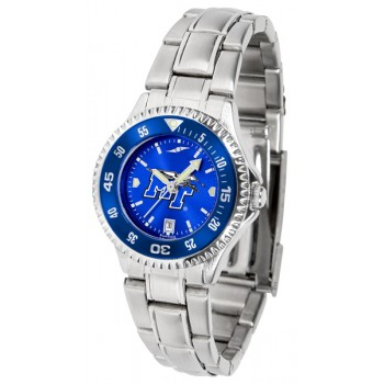 Middle Tennessee State University Blue Raiders Ladies Watch - Competitor Anochrome - Colored Bezel - Steel Band