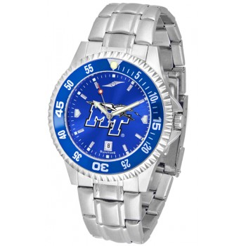 Middle Tennessee State University Blue Raiders Mens Watch - Competitor Anochrome - Colored Bezel - Steel Band