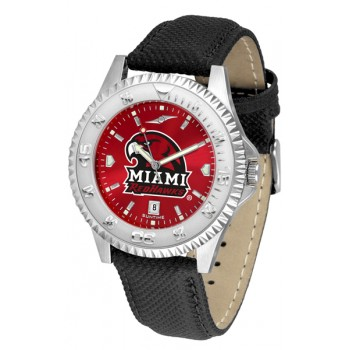 Miami University Of Ohio Redhawks Mens Watch - Competitor Anochrome Poly/Leather Band