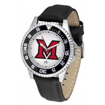 Miami University Of Ohio Redhawks Mens Watch - Competitor Poly/Leather Band