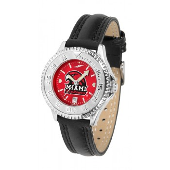 Miami University Of Ohio Redhawks Ladies Watch - Competitor Anochrome Poly/Leather Band