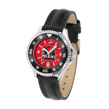 Miami University Of Ohio Redhawks Ladies Watch - Competitor Anochrome Colored Bezel Poly/Leather Band