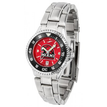 Miami University Of Ohio Redhawks Ladies Watch - Competitor Anochrome - Colored Bezel - Steel Band