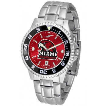 Miami University Of Ohio Redhawks Mens Watch - Competitor Anochrome - Colored Bezel - Steel Band