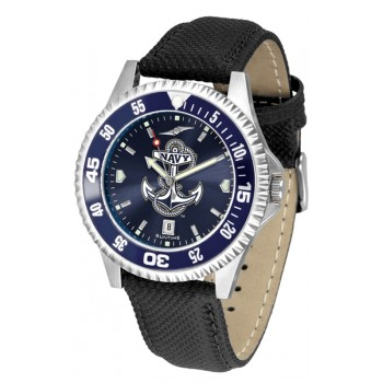 United States Naval Academy Midshipmen Mens Watch - Competitor Anochrome Colored Bezel Poly/Leather Band