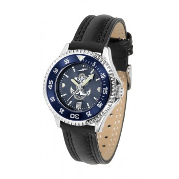 United States Naval Academy Midshipmen Ladies Watch - Competitor Anochrome Colored Bezel Poly/Leather Band