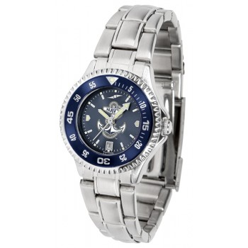 United States Naval Academy Midshipmen Ladies Watch - Competitor Anochrome - Colored Bezel - Steel Band