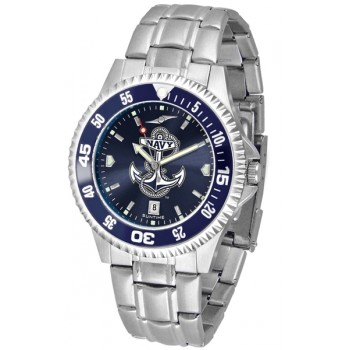 United States Naval Academy Midshipmen Mens Watch - Competitor Anochrome - Colored Bezel - Steel Band