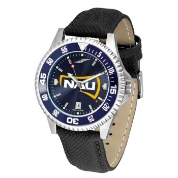 Northern Arizona University Lumberjacks Mens Watch - Competitor Anochrome Colored Bezel Poly/Leather Band