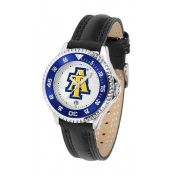 North Carolina A&T University Aggies Ladies Watch - Competitor Poly/Leather Band