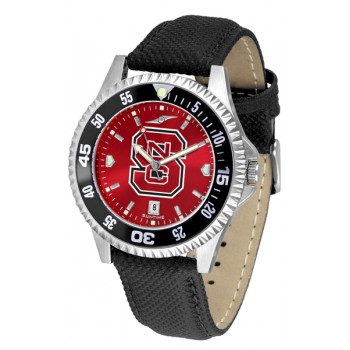 North Carolina State Wolfpack Mens Watch - Competitor Anochrome Colored Bezel Poly/Leather Band