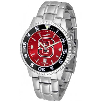 North Carolina State Wolfpack Mens Watch - Competitor Anochrome - Colored Bezel - Steel Band