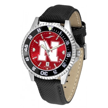 University Of Nebraska Cornhuskers Mens Watch - Competitor Anochrome Colored Bezel Poly/Leather Band