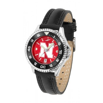 University Of Nebraska Cornhuskers Ladies Watch - Competitor Anochrome Colored Bezel Poly/Leather Band