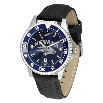 University Of Nevada Wolfpack Mens Watch - Competitor Anochrome Colored Bezel Poly/Leather Band