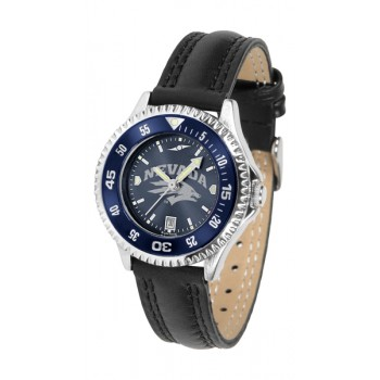 University Of Nevada Wolfpack Ladies Watch - Competitor Anochrome Colored Bezel Poly/Leather Band