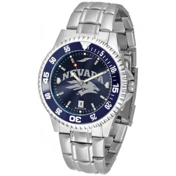University Of Nevada Wolfpack Mens Watch - Competitor Anochrome - Colored Bezel - Steel Band