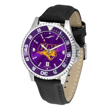 University Of Northern Iowa Panthers Mens Watch - Competitor Anochrome Colored Bezel Poly/Leather Band