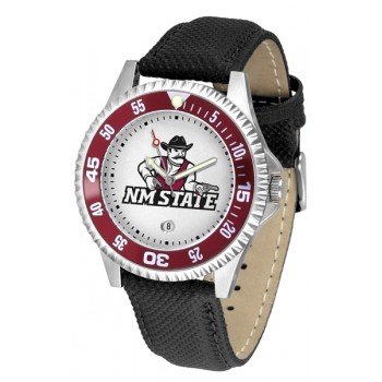 New Mexico State University Pistol Pete Mens Watch - Competitor Poly/Leather Band