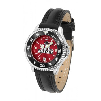 New Mexico State University Pistol Pete Ladies Watch - Competitor Anochrome Colored Bezel Poly/Leather Band