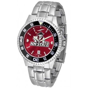 New Mexico State University Pistol Pete Mens Watch - Competitor Anochrome - Colored Bezel - Steel Band