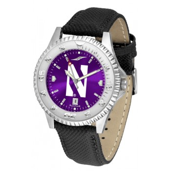 Northwestern University Wildcats Mens Watch - Competitor Anochrome Poly/Leather Band
