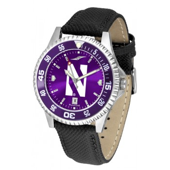 Northwestern University Wildcats Mens Watch - Competitor Anochrome Colored Bezel Poly/Leather Band