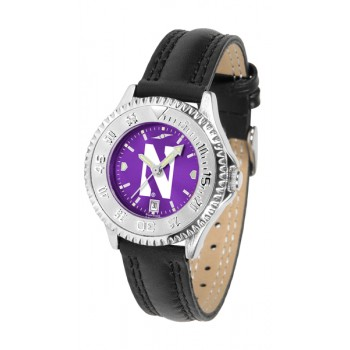 Northwestern University Wildcats Ladies Watch - Competitor Anochrome Poly/Leather Band