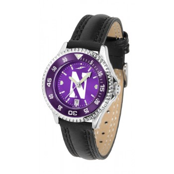 Northwestern University Wildcats Ladies Watch - Competitor Anochrome Colored Bezel Poly/Leather Band