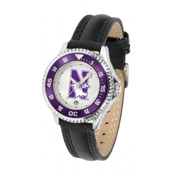 Northwestern University Wildcats Ladies Watch - Competitor Poly/Leather Band