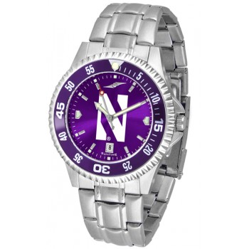 Northwestern University Wildcats Mens Watch - Competitor Anochrome - Colored Bezel - Steel Band