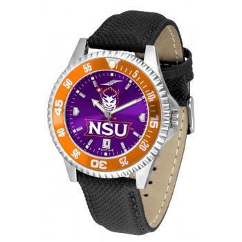 Northwestern State University Demons Mens Watch - Competitor Anochrome Colored Bezel Poly/Leather Band