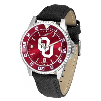 University Of Oklahoma Sooners Mens Watch - Competitor Anochrome Colored Bezel Poly/Leather Band