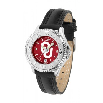 University Of Oklahoma Sooners Ladies Watch - Competitor Anochrome Poly/Leather Band
