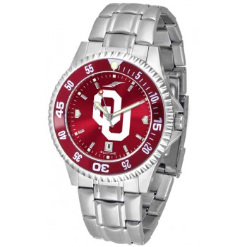University Of Oklahoma Sooners Mens Watch - Competitor Anochrome - Colored Bezel - Steel Band
