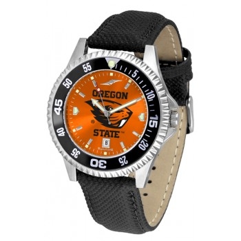 Oregon State University Beavers Mens Watch - Competitor Anochrome Colored Bezel Poly/Leather Band