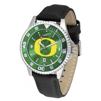 University Of Oregon Ducks Mens Watch - Competitor Anochrome Colored Bezel Poly/Leather Band