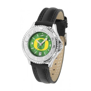 University Of Oregon Ducks Ladies Watch - Competitor Anochrome Poly/Leather Band