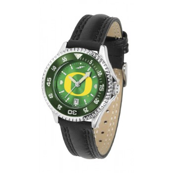 University Of Oregon Ducks Ladies Watch - Competitor Anochrome Colored Bezel Poly/Leather Band