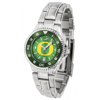 University Of Oregon Ducks Ladies Watch - Competitor Anochrome - Colored Bezel - Steel Band
