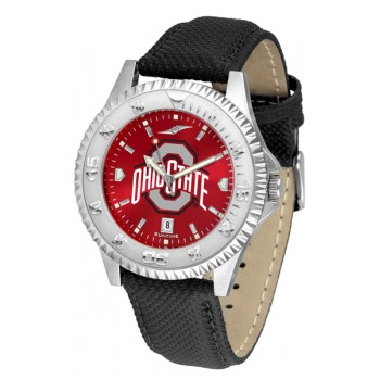 Ohio State University Buckeyes Mens Watch - Competitor Anochrome Poly/Leather Band